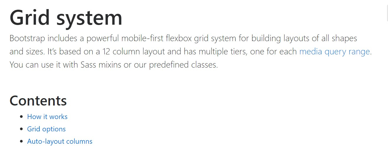 Bootstrap 4 Grid system:  main  information